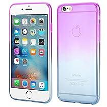 ISUDA Coque iPhone 6s, coque jolie iphone 6/6s élégante silicone transparent Soft Gel TPU pour iPhone 6/6s (Violet+Bleu)