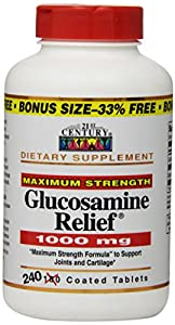 21st Century Dietary Supplement Glucosamine Relief, 1000 mg, Maximum Strength, Tablets, Value Size , 240 caplets