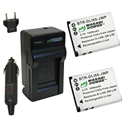 Wasabi Power Battery and Charger Kit for Sanyo DB-L80, DB-L80AU, VPC-CA100, VPC-CA102, VPC-CG10, VPC-CG100, VPC-CG102, VPC-CG20, VPC-CG21, VPC-CS1, VPC-GH1, VPC-GH2, VPC-GH3, VPC-GH4, VPC-PD1, VPC-PD2
