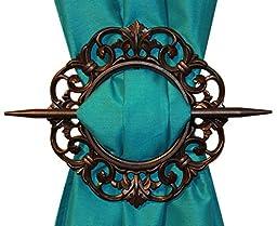 Antique Decorative Curtain Holdback, Set of 2, Bronze Silver Mahogany (Mahogany)
