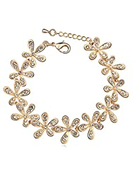 Silver Shoppee Magical LOVE 22K Yellow Gold Plated Cubic Zirconia Studded Alloy Bracelet