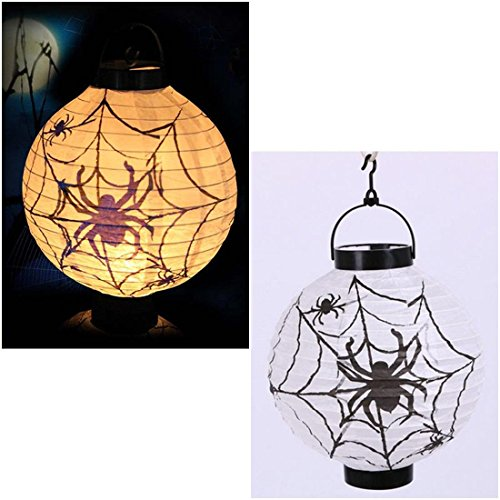 1 Pcs Optimum Popular Halloween LED Nightlight Home Decor Wall Mount Paper Lantern Style Spider Color White