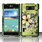 LG Optimus Showtime L86C Case (Straight Talk / Net10 / US Cellular) Glamorous Flower Design Hard Cover Protector with Free Car Charger + Gift Box By Tech Accessories