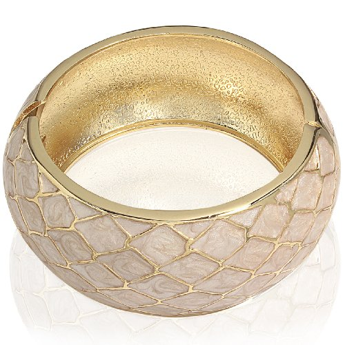 Hinged Bangle Bracelet-Diagonal Shape Design(Cream)