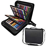 Shulaner 216 Slots PU Leather Colored Pencil Case Organizer Large Capacity Carrying Bag for Prismacolor Watercolor Pencils, Crayola Colored Pencils, Marco Pens, Gel Pens (Black, 216) (Color: Black, Tamaño: 216)
