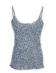 PrettyGuide Women Flashy Sequins All Over Front Spaghetti Strap Tank Top Silver