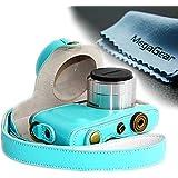 MegaGear Leder Kameratasche Spiegelreflexkamera für Samsung NX Mini 9-27mm (Blau)