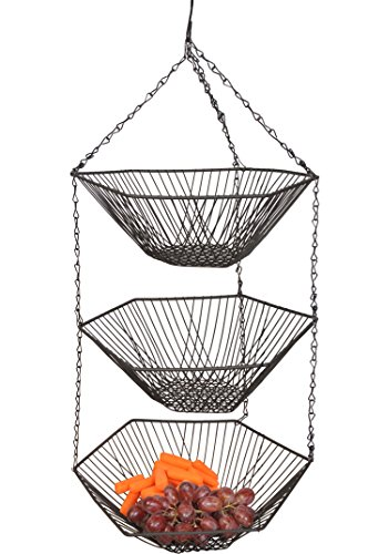3 Tiers Hanging Fruit Basket w/ Black Finished. 12.6