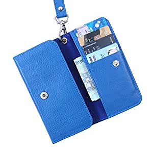 Dooda Genuine Leather Wallet Pouch Case For Lava Xolo B700 (BLUE)