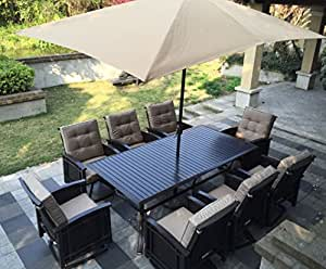 9pc Palmetto Wicker Patio Dining Set And Olifen Cushions With Free Umbrella