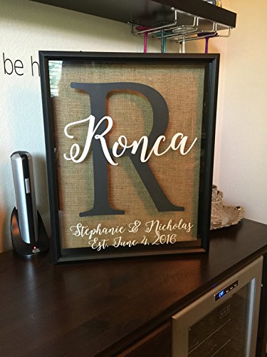 Whimsical Script Monogram Wine Cork Holder- can be used as a alternative guest book, great wedding gift