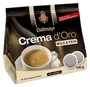 Dallmayr Crema D'Oro Pods, Mild & Fein, 100% Arabica, 4.09-Ounce, 16-Count Coffee Pods (Pack of 5) by Dallmayr