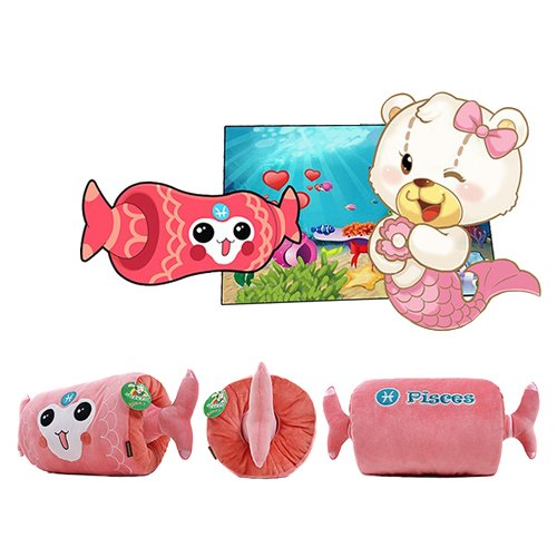 45 X 22Cm Constellation Plush Pillows Pisces Usb Rechargeable Hand Warmer front-982964