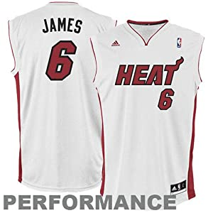 NBA Miami Heat LeBron James Youth Home Replica Jersey  (White, Medium)