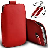DIGI PIG RED (PU) LEATHER PULL TAB POUCH AND RETRACTABLE STYLUS PEN FOR ALCATEL ONE TOUCH S'POP