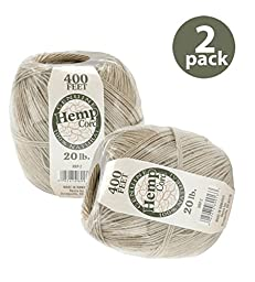 One Package of 400 feet 100% Natural Hemp Cord #20...