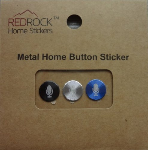 Microphone Aluminum Metal Home Button Sticker For Iphone, Ipad, Ipad Mini, Ipod Touch 3 Pieces Black, Silver, Blue