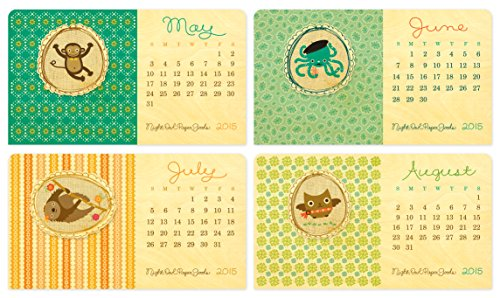 Night Owl Paper Goods 2015 Wooden Critter Portraits Desk Calendar