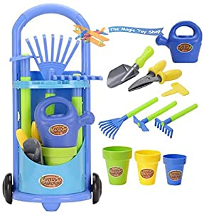 Kids gardening trolley play set garden hand tools toy for Childrens gardening tools
