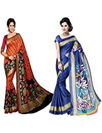 Binny Creation EXclusive Combo Of 2 Cotton Saree With Blouse Piece