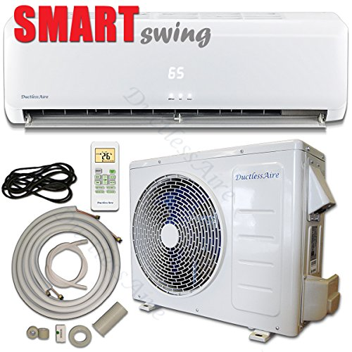 12000 Btu 115V DuctlessAire Mini Split Air Conditioner with Heating System, Complete Package, 23ft Kit Included