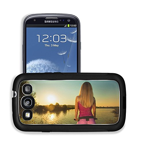 Luxlady Premium Samsung Galaxy S3 Aluminum Backplate Bumper Snap Case IMAGE ID: 31398848 Close up of rear view of a pretty woman on bicycle relaxing at Sunset