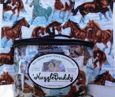 "'Nugglebuddy New!!! Microwavable Moist Heat & Aromatherapy Organic Rice Pack. Beautiful ""Wild Horses"" Fabric With Spearmint Eucalyptus Aromatherapy. Soothing The Souls Of The Planet..."