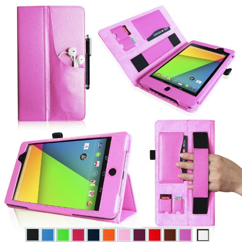 Fintie Folio Plus Case for Google New Nexus 7 FHD 2nd Generation Tablet with Elastic Hand Strap/Front Pocket/ Multiple Card Slots/ Stylus Holder – Violet