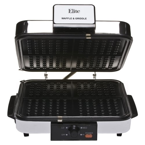 Maxi-Matic EBG-980 Elite Cuisine 1200-Watt Waffle and Breakfast Grill with Temperature Control, Chrome