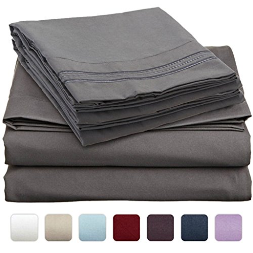 #1 Bed Sheet Set On Amazon - Super Silky Soft - Sale - Highest Quality 100% Brushed Microfiber 1800 Bedding Collections - Wrinkle, Fade, Stain Resistant - Hypoallergenic - Deep Pockets - Luxury Fitted & Flat Sheets, Pillowcases - Best For Bedroom, Guest R front-1051214