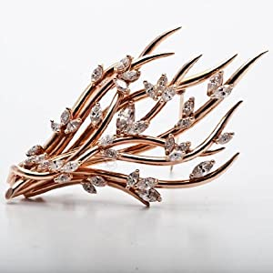 6.00 Carat Estate Retro Diamond Gold Branch Pin
