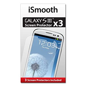 iSmooth Samsung Galaxy S3 Screen Protector 3 Pack Highest Rated Premium Quality - Free Lifetime Replacement Guarantee - Package Includes BONUS Cleaning Cloth and Three (3) Screen Protectors