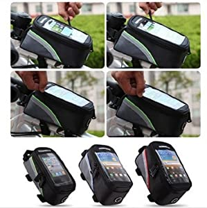 Panlong Roswheel Cycling Bicycle Bike Front Tube Top Tube Cell Phone Bag Frame Bag Phone Holder for iPhone Samsung HTC Nokia and other Smartphones-4.8 Blue