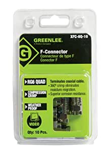 Greenlee XFC-6Q-10 Weatherproof Compression F-Style Connectors, RG6 Quad, 10-Pack