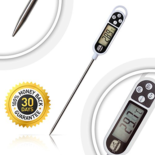 Learn More About Digital Instant Read Food Thermometer for BBQ Grill Cooking and Baby Milk. Long Pro...