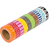 Colorful Washi Masking Tape (Set of 10 Rolls) - Wide Japanese Decorative Paper Tape with Geometric Pattern Designs, Cute Colored Collection From DIY Crew