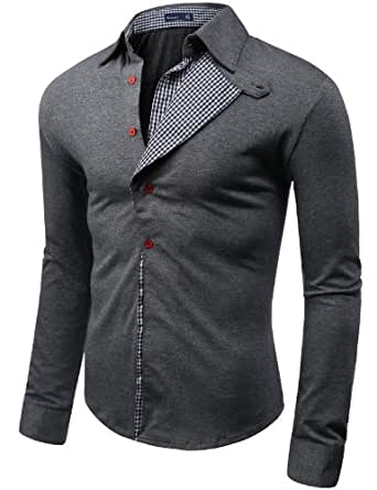 Doublju Mens shirts with Checked Pattern GRAY (US-S)