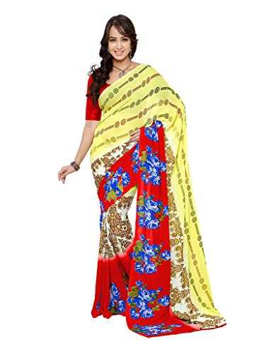Fabdeal Ethnic Printed Red and Yellow Georgette Saree  available at amazon for Rs.499