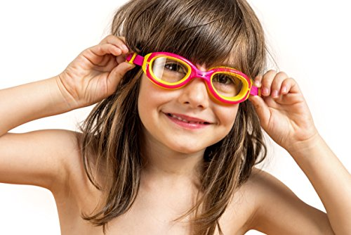 AqtivAqua® Junior-Schwimmbrille für Kinder (4-12 Jahre) mit Anti-Beschlag-Technologie und UV-Schutz ~ Antiallergischer weicher Silikonrahmen ~ Hochwertige Polykarbonat-Linsen ~ Bequeme, einfach zu verwendende Schwimmbrille für Kinder