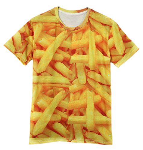Easy Mens Fashion Rock Punk French fries 3D Printing T Shirts M Yellow (French Fry Tshirt compare prices)