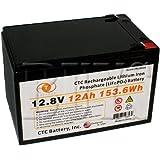 12.8 Volt 12ah LiFePO4 Lithium Iron Phosphate Battery w/ BMS replaces 12v NP12-12, REC12-12, 6-DZM-12, CB12-12, RBC4, BSL1104, SLA1104, BP12-12 T2, 12CE12 T2, GP12120 F2, EVX12120 F2, HGL12-12, PE12V12, TEV12120, ES12-12 F2, LC-R1211P1, LC-CA1212P1, PS-12120 F2, UB12120 F2, WKA12-12F2