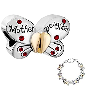 Pugster Separable Butterfly Mother Daughter Red Crystal Heart Love Mom Charm Beads Fit Pandora Charm Bead Bracelet