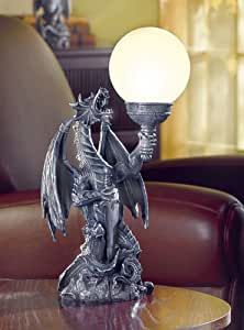 MYTHICAL DRAGON WITH ORB GLOBE TABLE LAMP