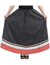 Sunshine Rajasthan Women's Cotton A-Line Ethnic Skirt (Black)