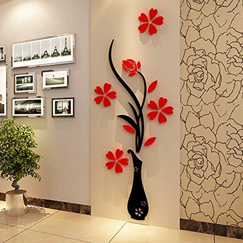 Wall Murals-Vaso da fiori in 3d, per soggiorno, camera da letto, con Arcylic Fondo a parete per Tv, originalità adesivi, idea regalo, da parete, decorazioni da parete, decorazioni da parete, 30 (larghezza) x 80 CM (altezza) CM