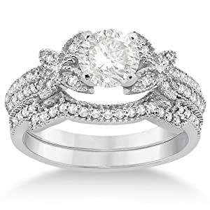 Allurez Butterfly Double Row Micro Pave Diamond Engagement Ring With Band Setting (0.18Ct) Platinum 4.25
