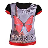 Leichie Casual Top with Digital Butterfly Print Design No.2307 Black