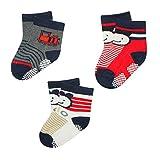 Wonderkids 3 Piece Printed Baby Socks - Red, Grey, Navy Blue