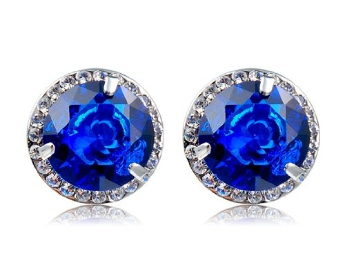 18K Gold Plated Alloy Crystal & Zircon Decoration Stud Earrings (Blue) M. By Preciastore