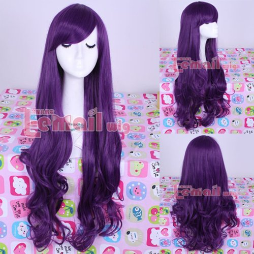 Synthetic 80cm Long Purple Curly Wavy Cosplay Women Hair Party Wig Ml157